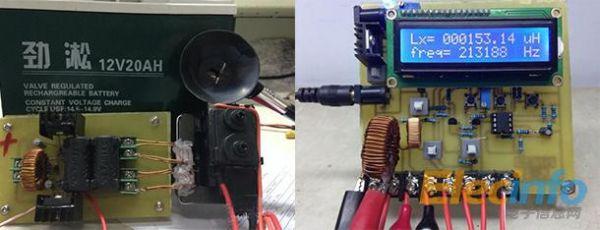 输出端接5:5绕组双股并饶于高压包的磁芯上,然后通过高压包进行放电