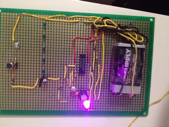 自制带红外躲避模块的声控照明电路