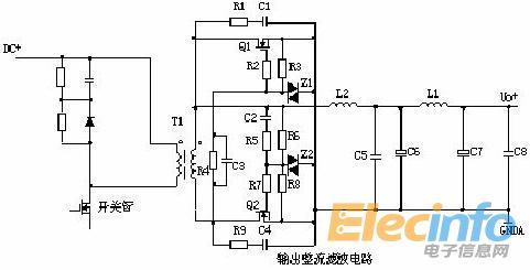 d1为整流二极管,d2为续流二极管,r1,c1,r2,c2为削尖峰电路.
