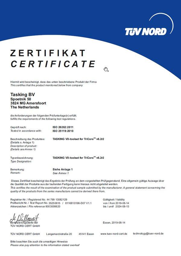 适用于TriCore/AURIX的TASKING VX-工具集已成功通过TUV Nord认证