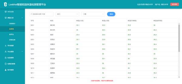 北京初三学生复课 LOOKHOT体温管理系统有效提升学校防疫工作效率
